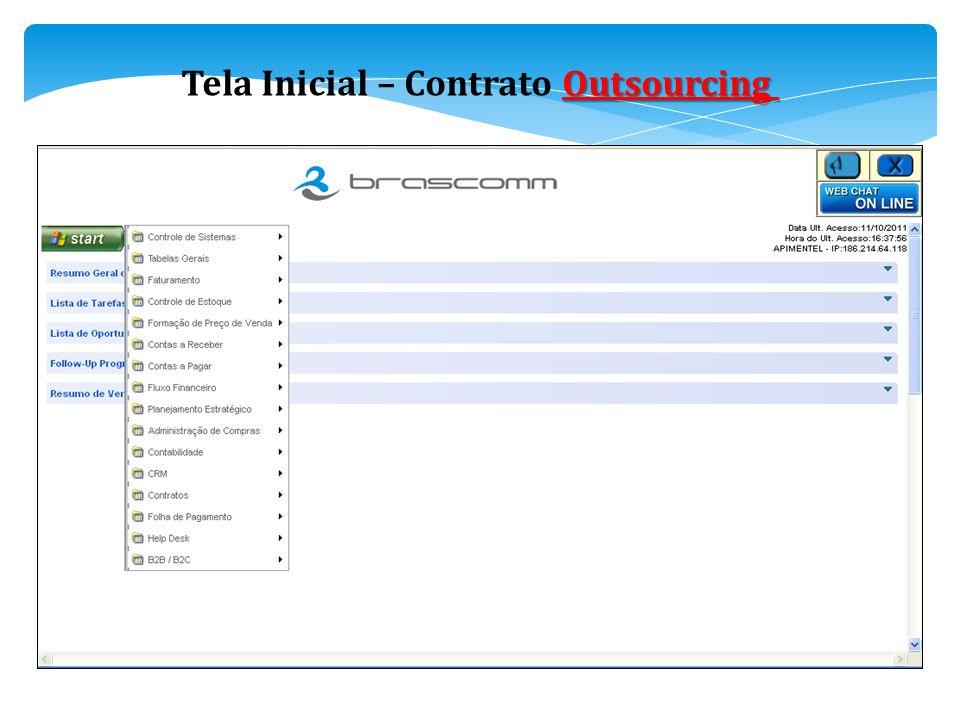 Tela Inicial – Contrato Outsourcing