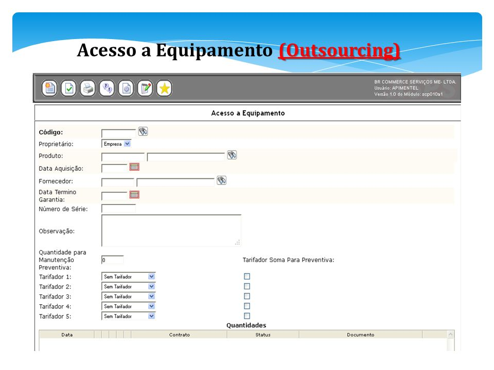 Acesso a Equipamento (Outsourcing)
