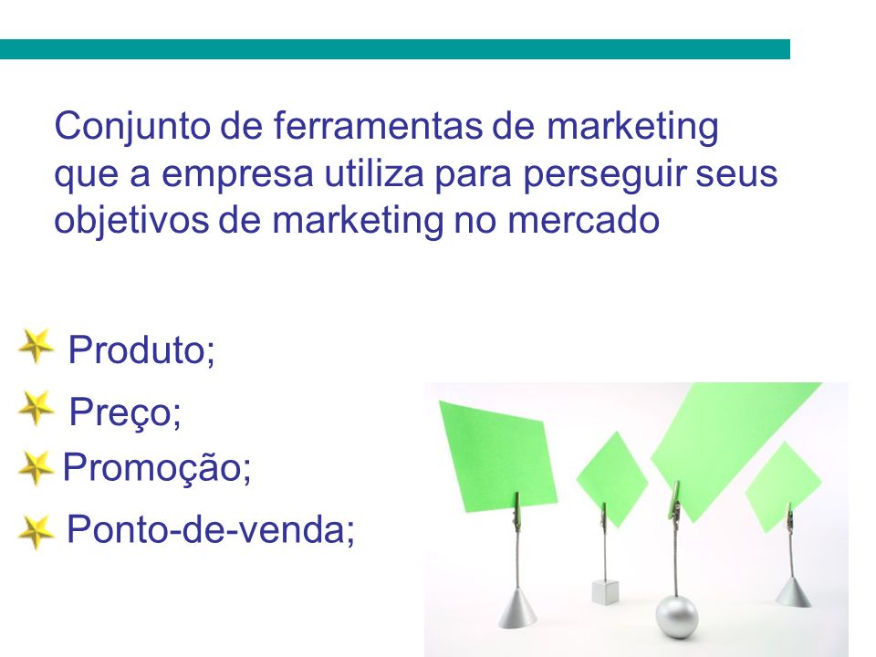 Conjunto de ferramentas de marketing que a empresa utiliza para perseguir seus objetivos de marketing no mercado