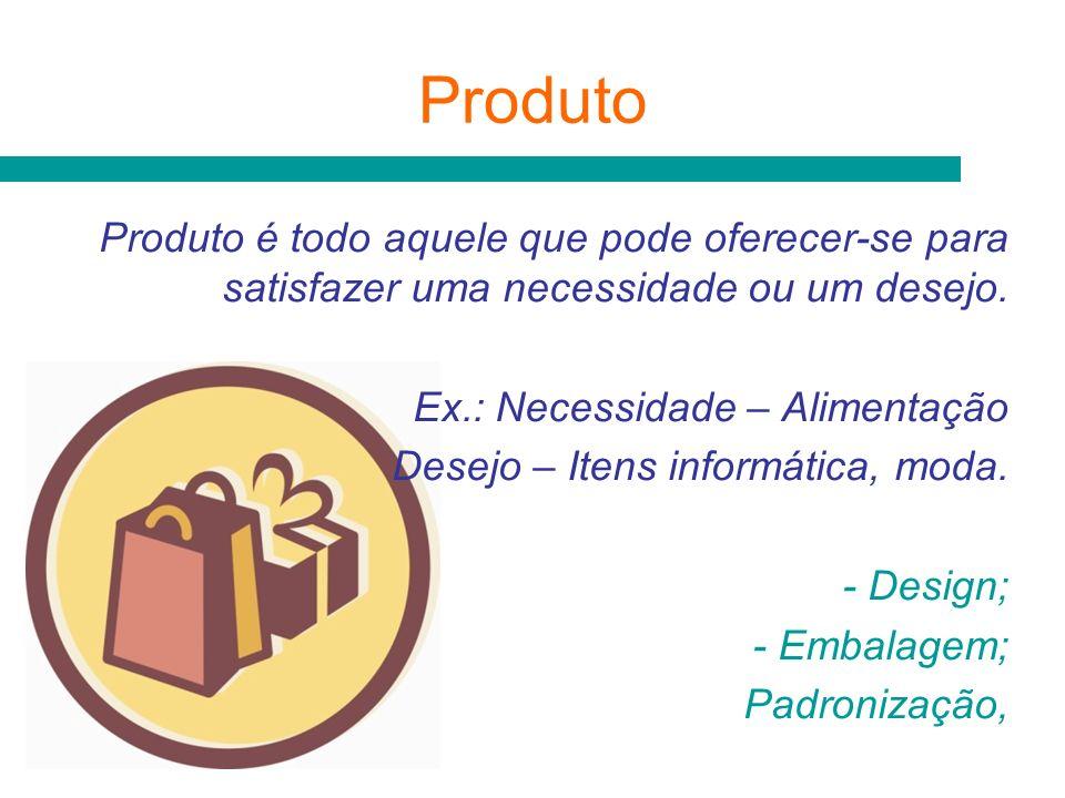 Produto Produto é todo aquele que pode oferecer-se para satisfazer uma necessidade ou um desejo. Ex.: Necessidade – Alimentação.