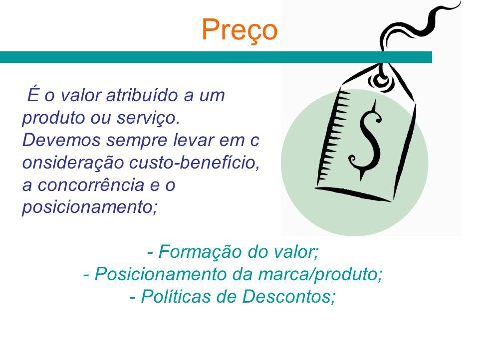 Preço É o valor atribuído a um produto ou serviço.