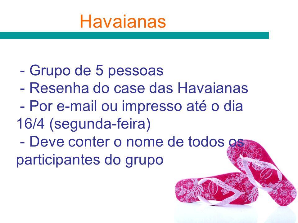 Havaianas - Grupo de 5 pessoas - Resenha do case das Havaianas