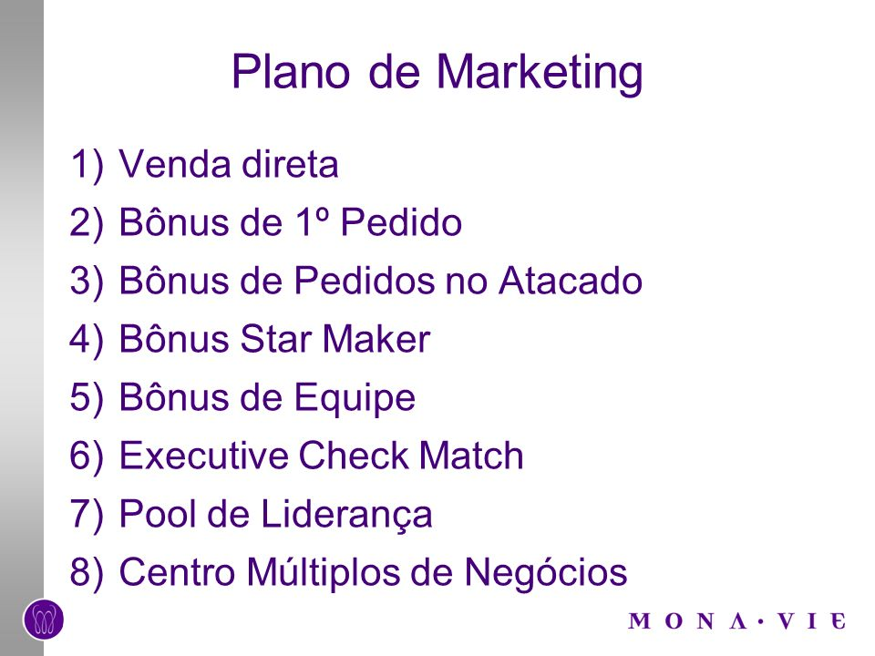 Plano de Marketing Venda direta Bônus de 1º Pedido