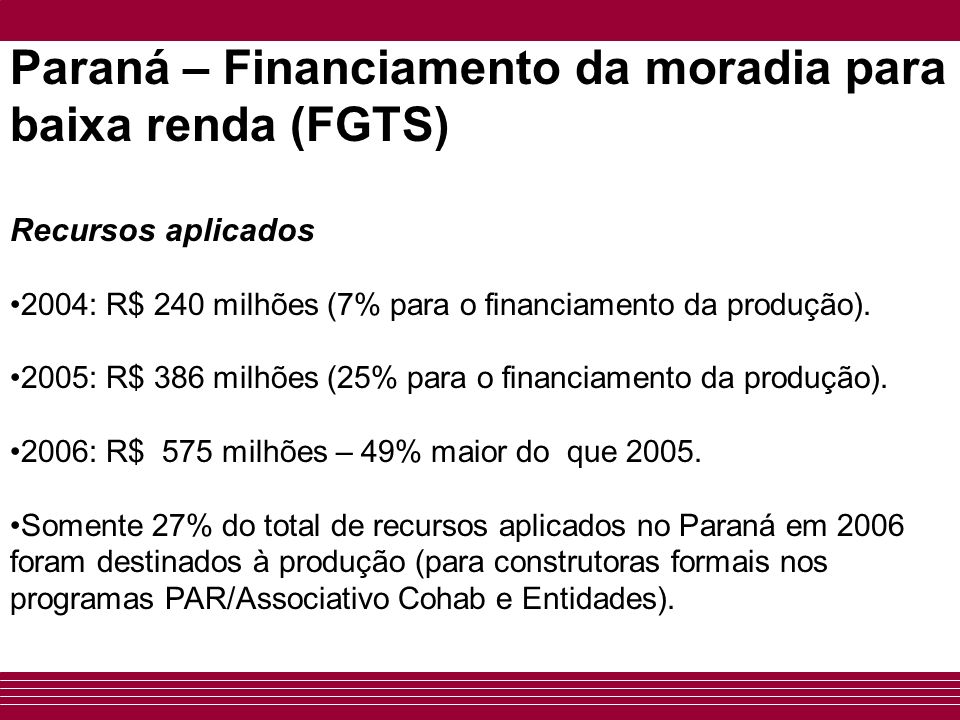 Paraná – Financiamento da moradia para baixa renda (FGTS)