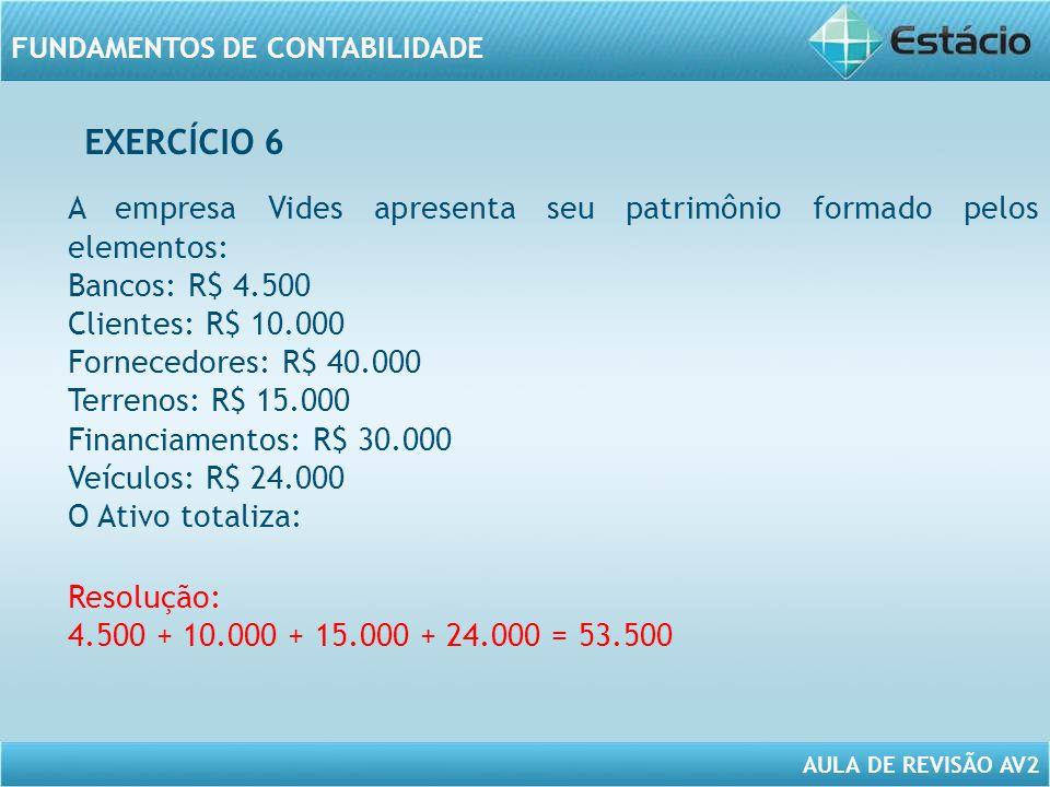 EXERCÍCIO 6 A empresa Vides apresenta seu patrimônio formado pelos elementos: Bancos: R$ 4.500. Clientes: R$ 10.000.