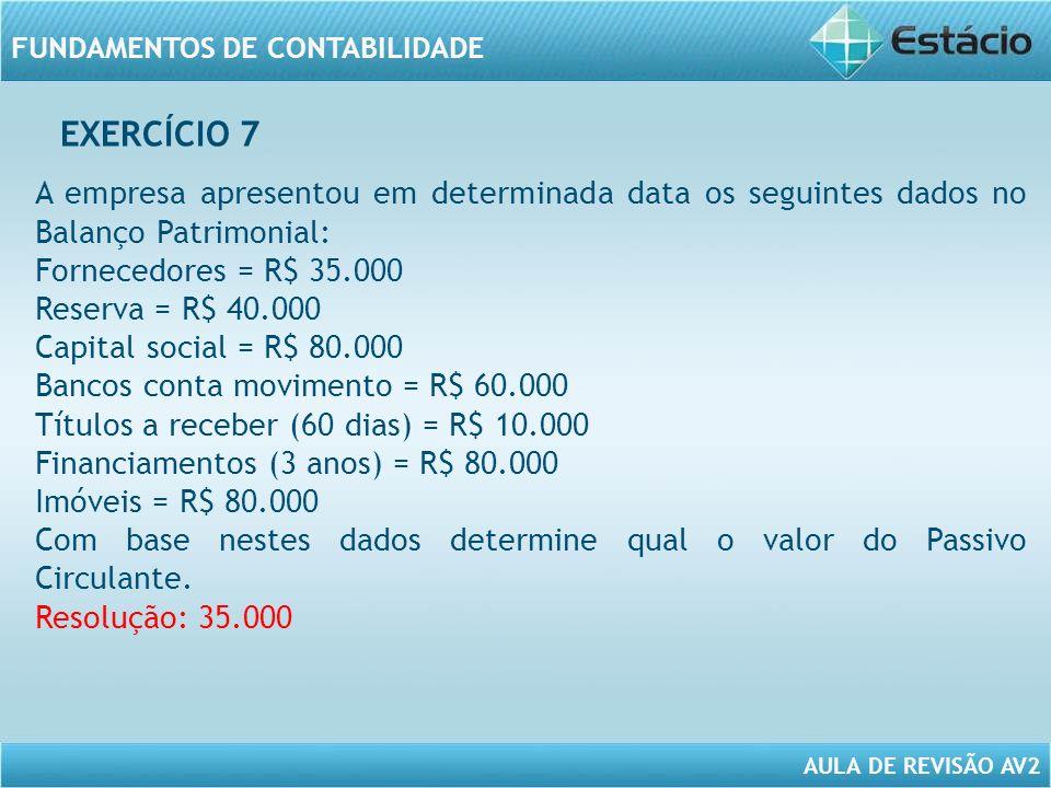 EXERCÍCIO 7 A empresa apresentou em determinada data os seguintes dados no Balanço Patrimonial: Fornecedores = R$ 35.000.