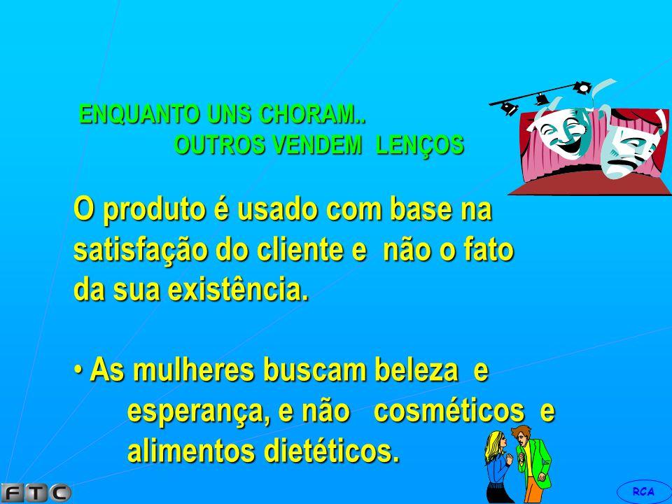 O produto é usado com base na satisfação do cliente e não o fato