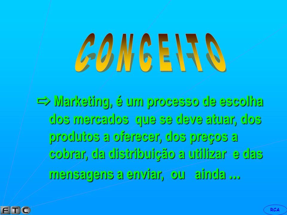 ⇨ Marketing, é um processo de escolha