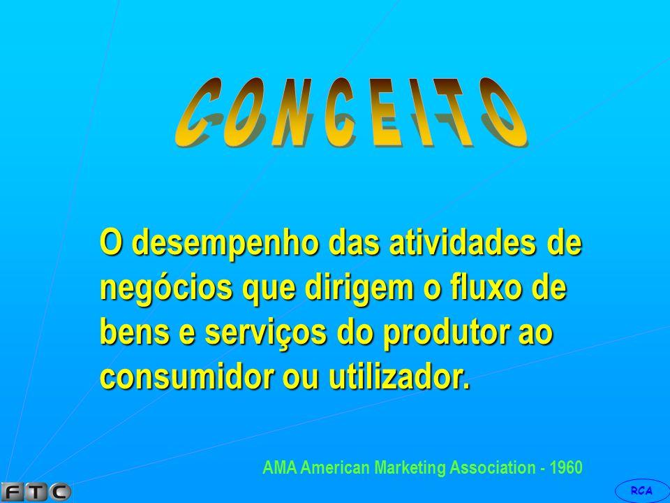 C O N C E I T O O desempenho das atividades de negócios que dirigem o fluxo de bens e serviços do produtor ao consumidor ou utilizador.
