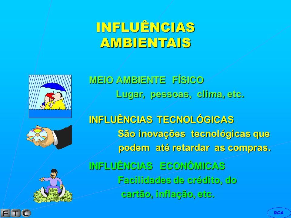 INFLUÊNCIAS AMBIENTAIS MEIO AMBIENTE FÍSICO INFLUÊNCIAS TECNOLÓGICAS