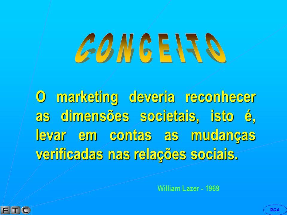 C O N C E I T O O marketing deveria reconhecer as dimensões societais, isto é, levar em contas as mudanças verificadas nas relações sociais.