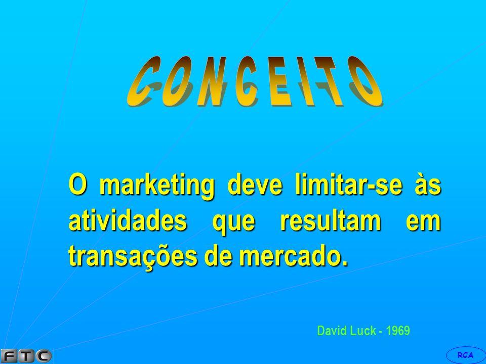 C O N C E I T O O marketing deve limitar-se às atividades que resultam em transações de mercado.