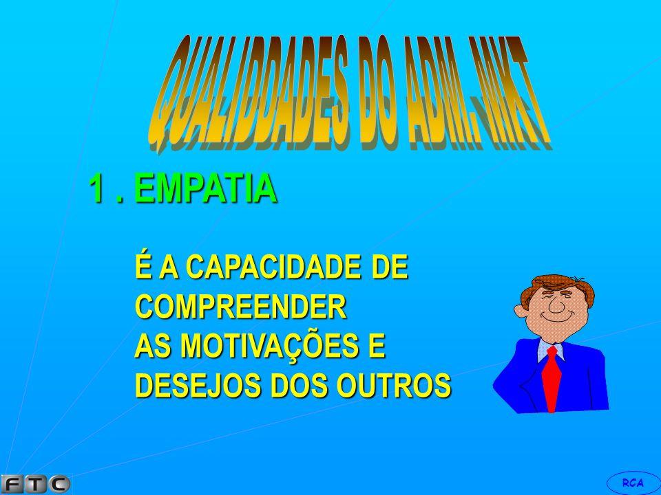 1 . EMPATIA QUALIDDADES DO ADM. MKT É A CAPACIDADE DE COMPREENDER