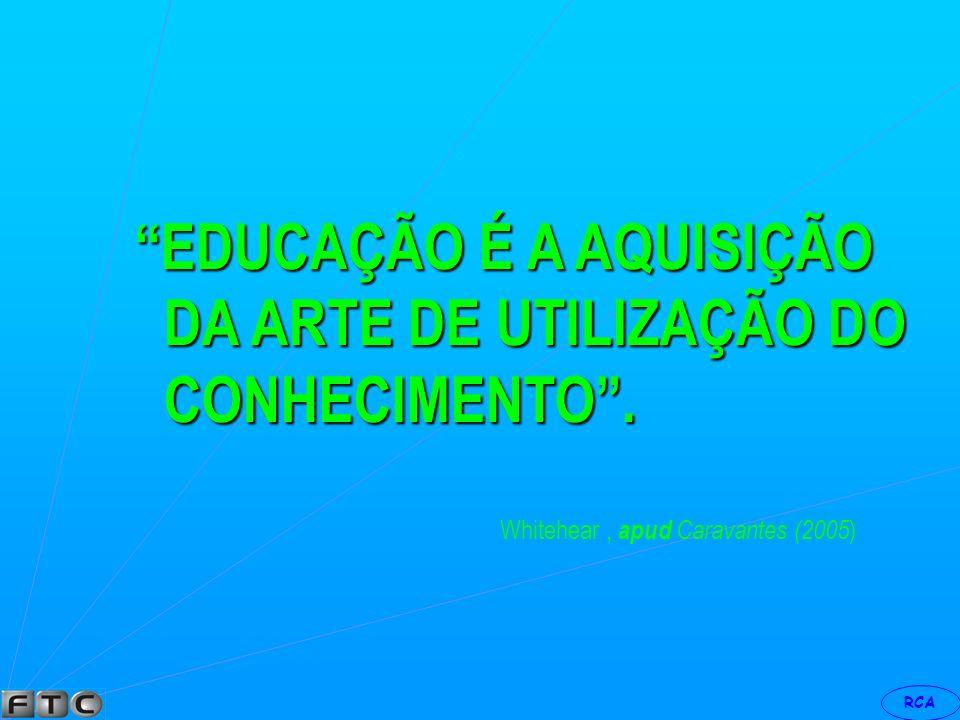 EDUCAÇÃO É A AQUISIÇÃO DA ARTE DE UTILIZAÇÃO DO CONHECIMENTO .