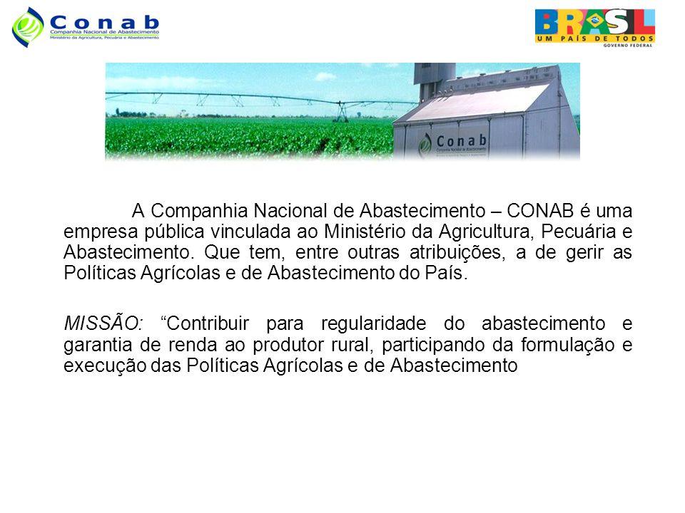 A Companhia Nacional de Abastecimento – CONAB é uma empresa pública vinculada ao Ministério da Agricultura, Pecuária e Abastecimento. Que tem, entre outras atribuições, a de gerir as Políticas Agrícolas e de Abastecimento do País.