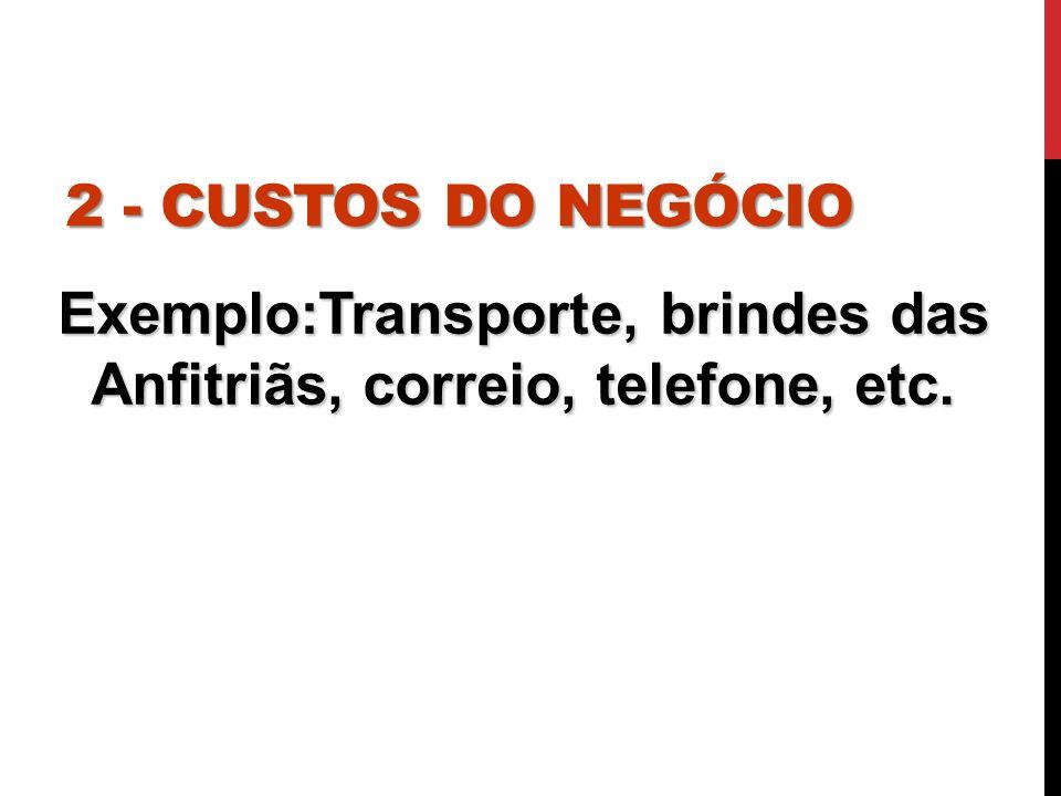 Exemplo:Transporte, brindes das Anfitriãs, correio, telefone, etc.