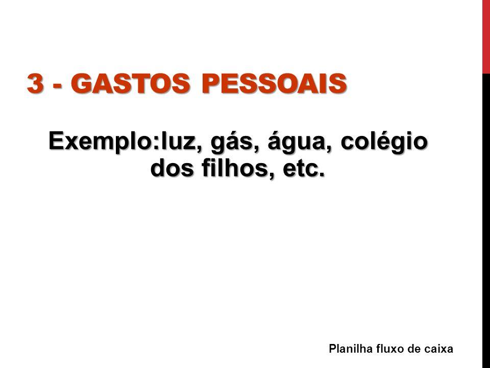 Exemplo:luz, gás, água, colégio dos filhos, etc.