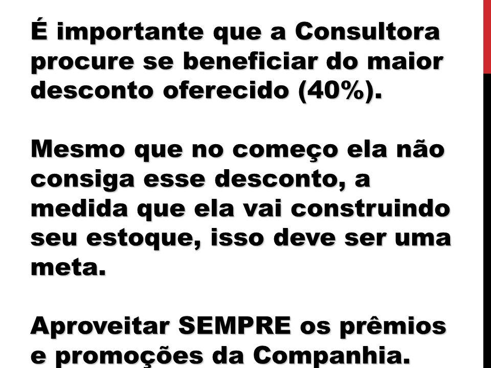 É importante que a Consultora procure se beneficiar do maior desconto oferecido (40%).