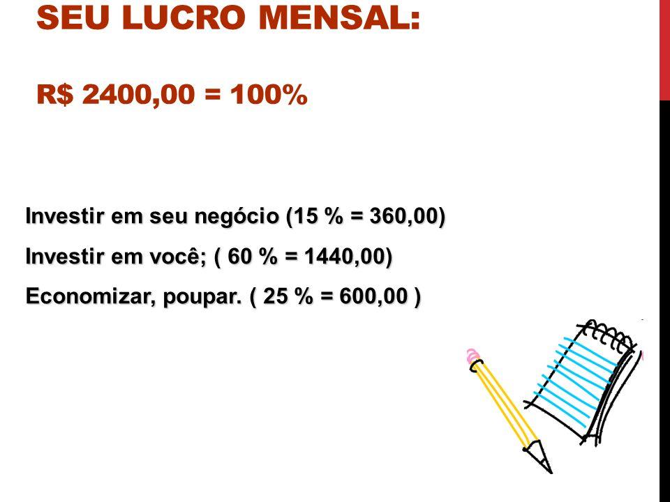 SUGESTÕES DE COMO APLICAR SEU LUCRO MENSAL: R$ 2400,00 = 100%