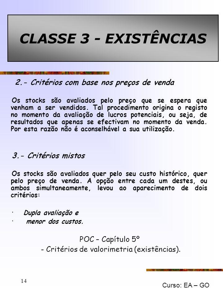 - Critérios de valorimetria (existências).