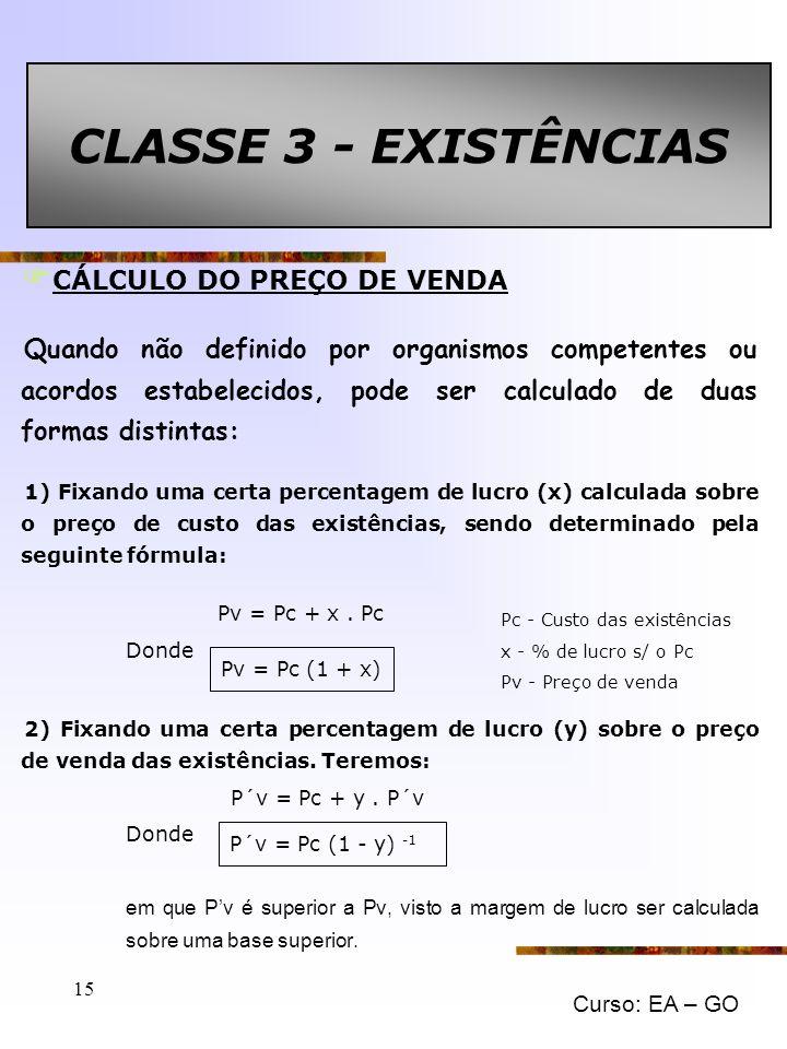 CLASSE 3 - EXISTÊNCIAS CÁLCULO DO PREÇO DE VENDA