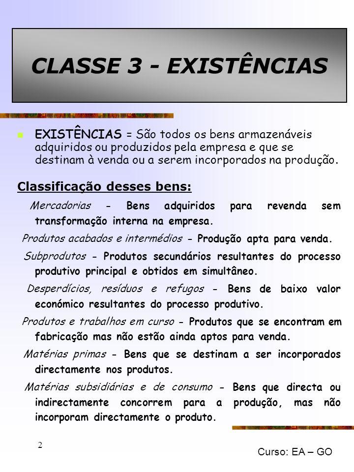 CLASSE 3 - EXISTÊNCIAS