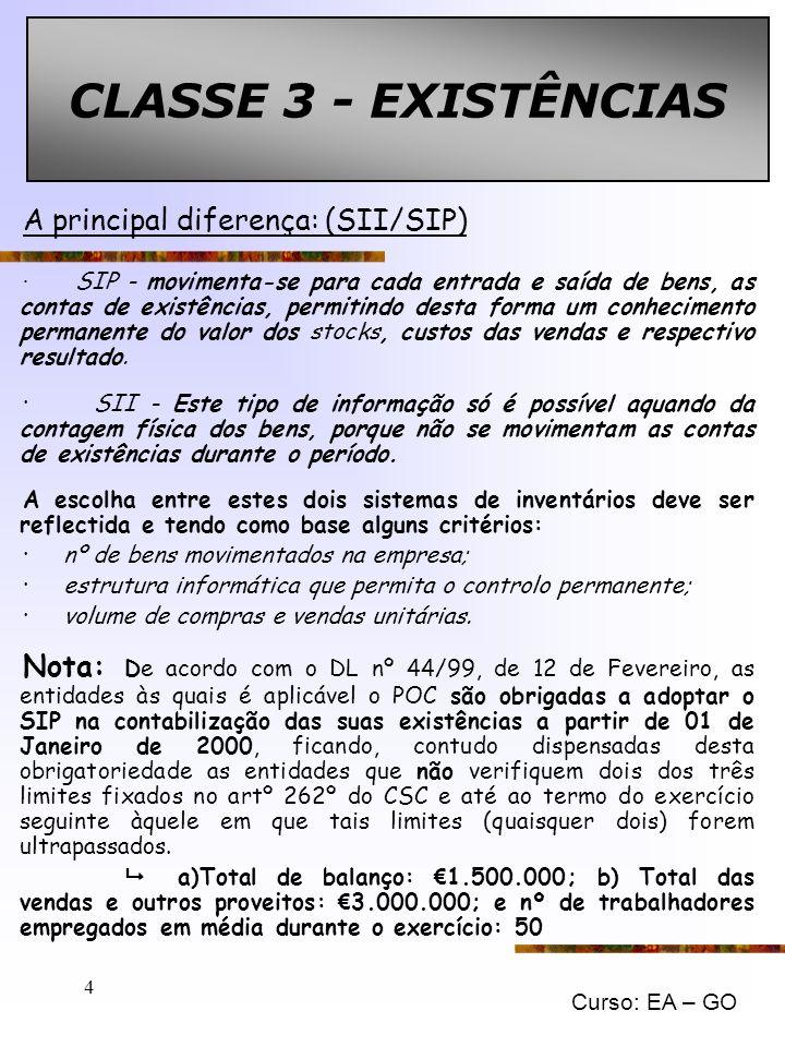 CLASSE 3 - EXISTÊNCIAS A principal diferença: (SII/SIP)