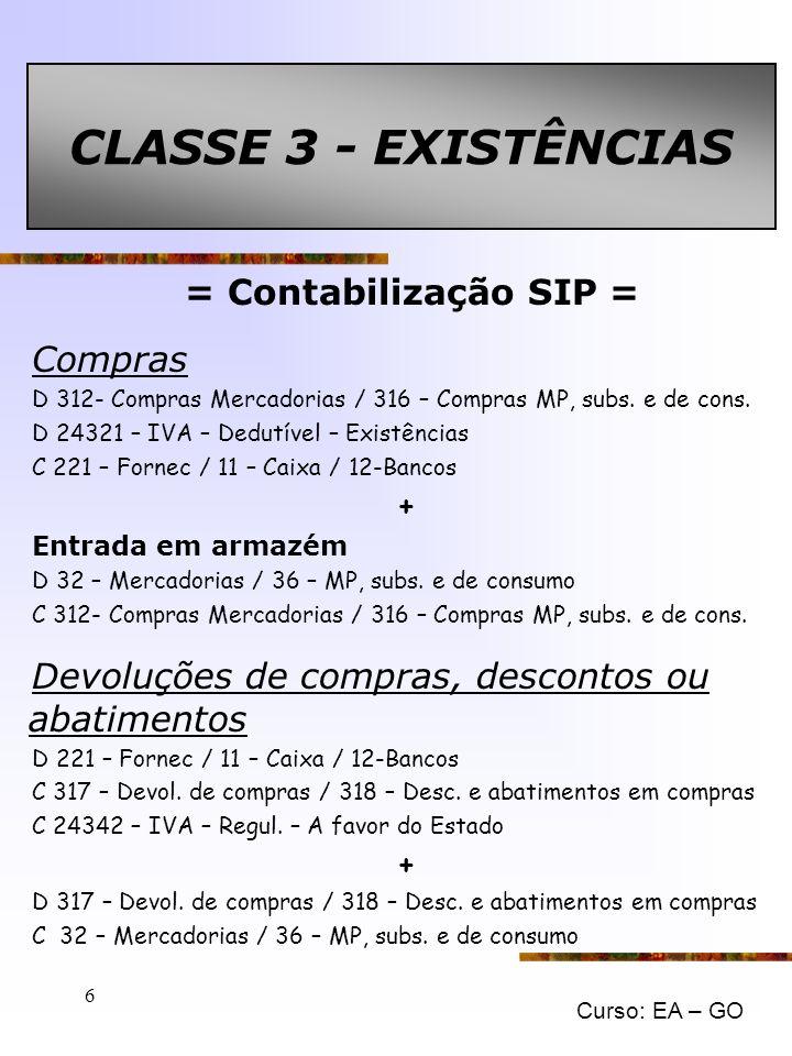 CLASSE 3 - EXISTÊNCIAS = Contabilização SIP = Compras