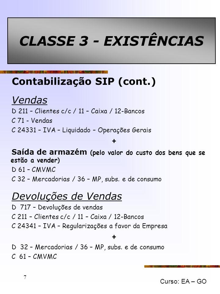 CLASSE 3 - EXISTÊNCIAS Contabilização SIP (cont.) Vendas