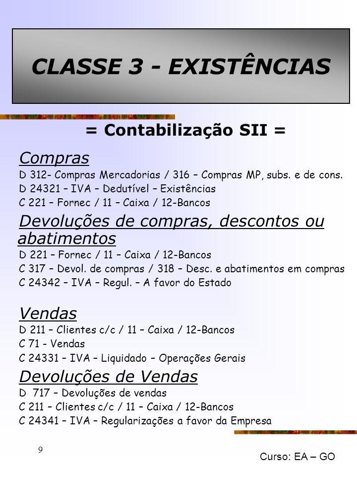 CLASSE 3 - EXISTÊNCIAS = Contabilização SII = Compras