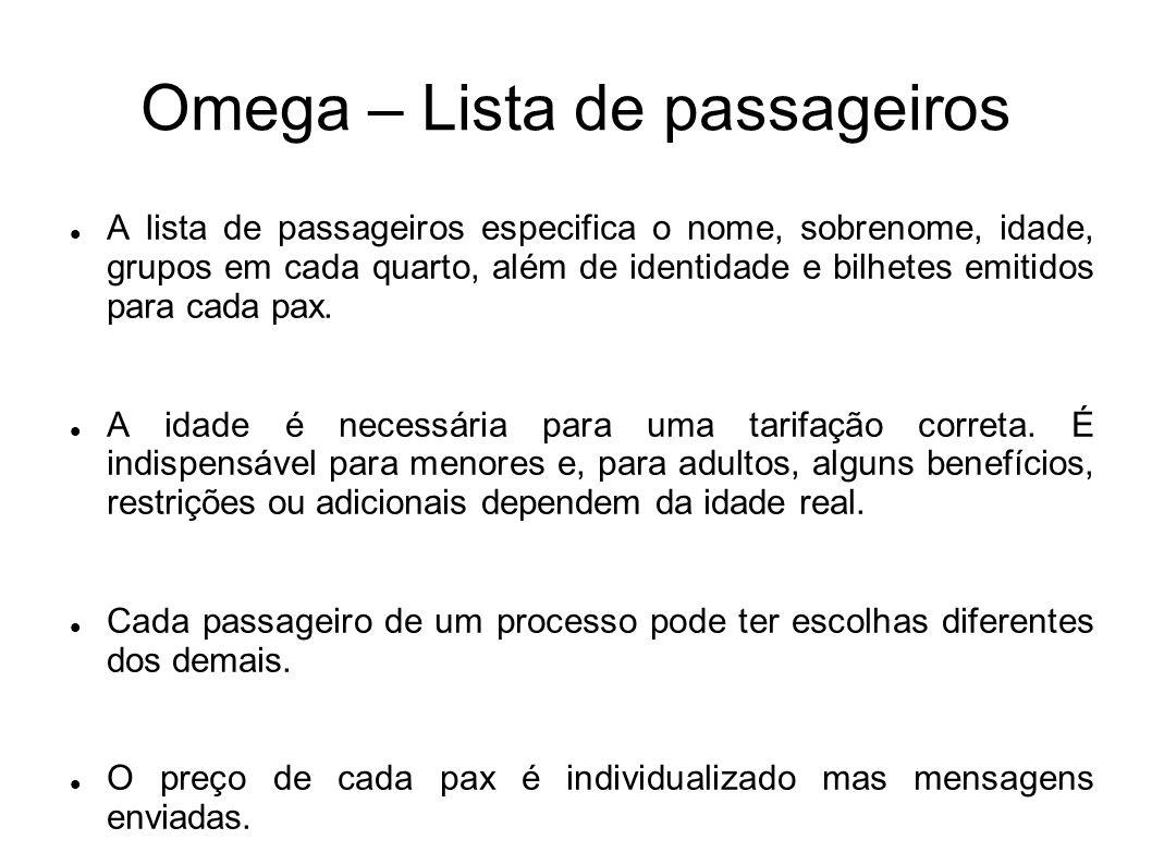 Omega – Lista de passageiros