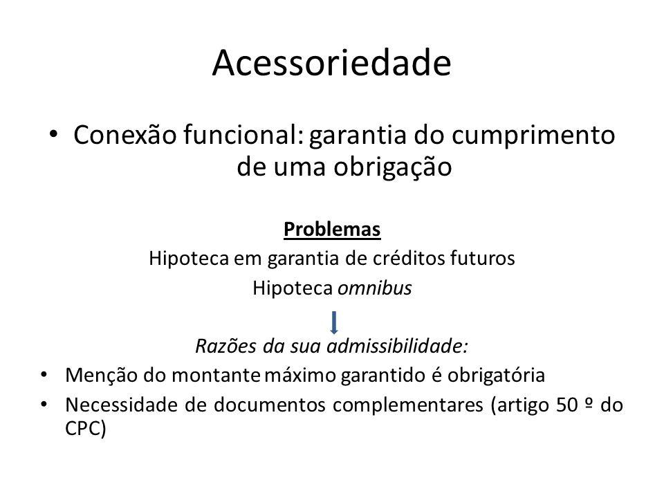 Acessoriedade Conexão funcional: garantia do cumprimento de uma obrigação. Problemas. Hipoteca em garantia de créditos futuros.