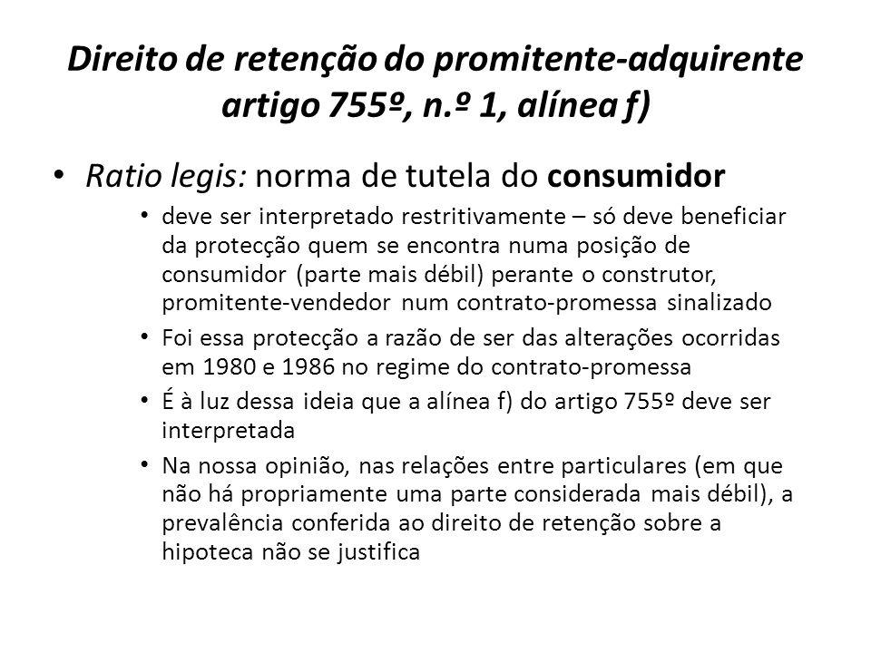 Direito de retenção do promitente-adquirente artigo 755º, n
