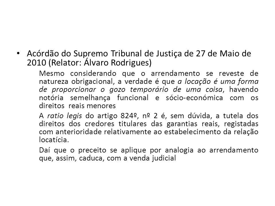 Acórdão do Supremo Tribunal de Justiça de 27 de Maio de 2010 (Relator: Álvaro Rodrigues)