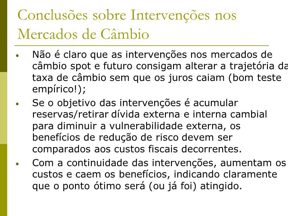 Conclusões sobre Intervenções nos Mercados de Câmbio