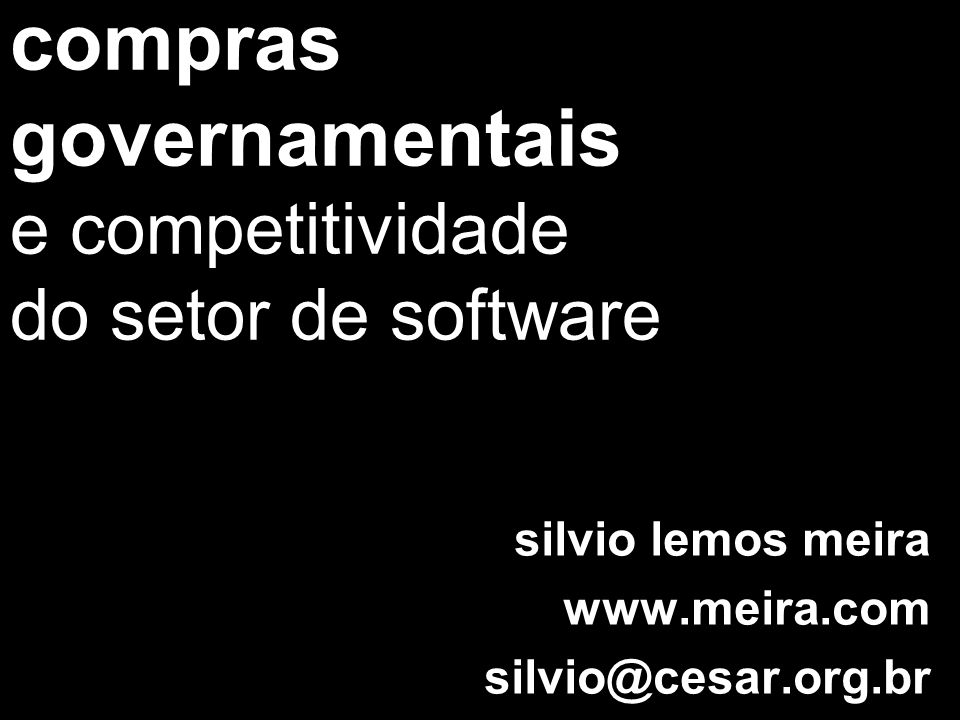compras governamentais e competitividade do setor de software