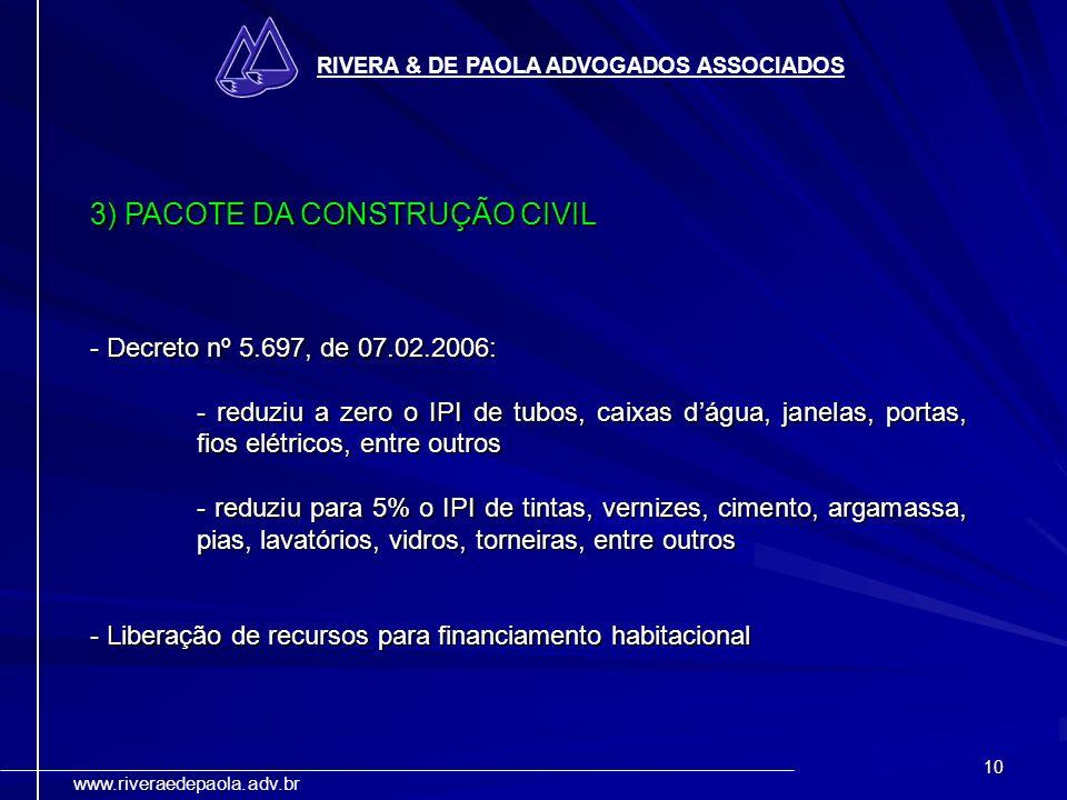 3) PACOTE DA CONSTRUÇÃO CIVIL