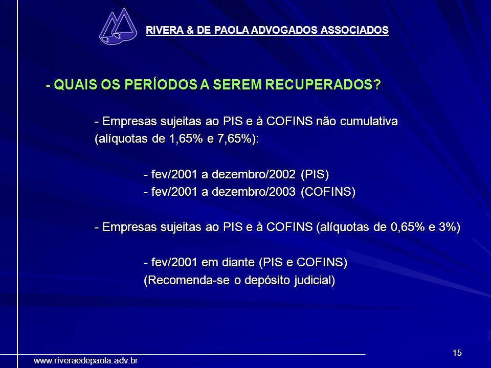 - QUAIS OS PERÍODOS A SEREM RECUPERADOS