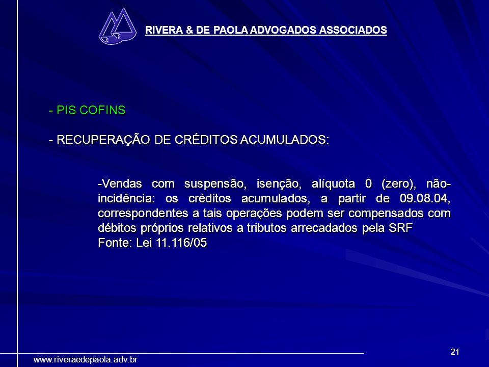 - RECUPERAÇÃO DE CRÉDITOS ACUMULADOS: