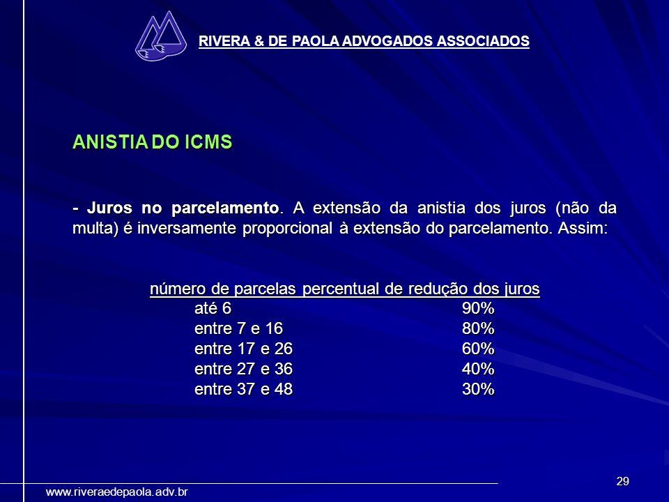 número de parcelas percentual de redução dos juros