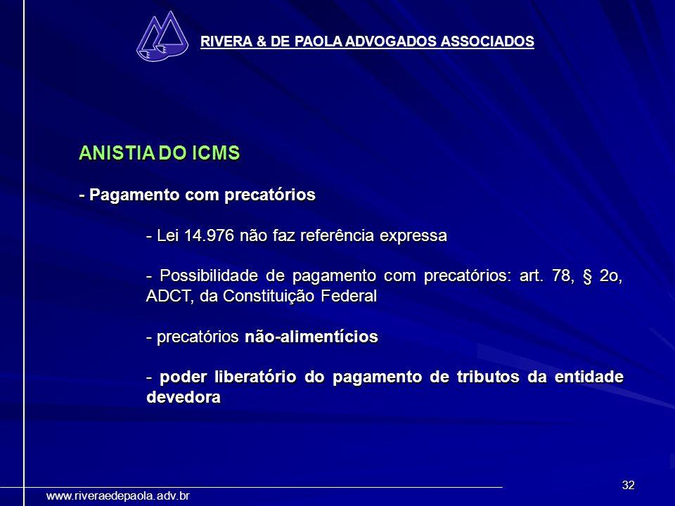 ANISTIA DO ICMS - Pagamento com precatórios