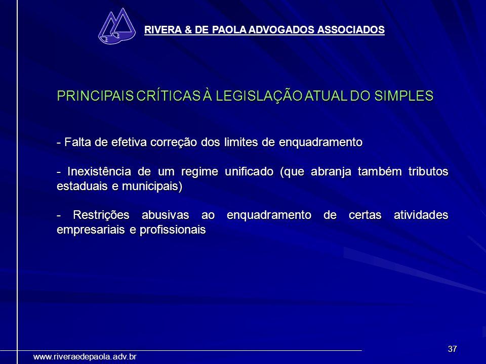 PRINCIPAIS CRÍTICAS À LEGISLAÇÃO ATUAL DO SIMPLES