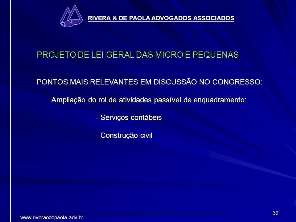 PROJETO DE LEI GERAL DAS MICRO E PEQUENAS
