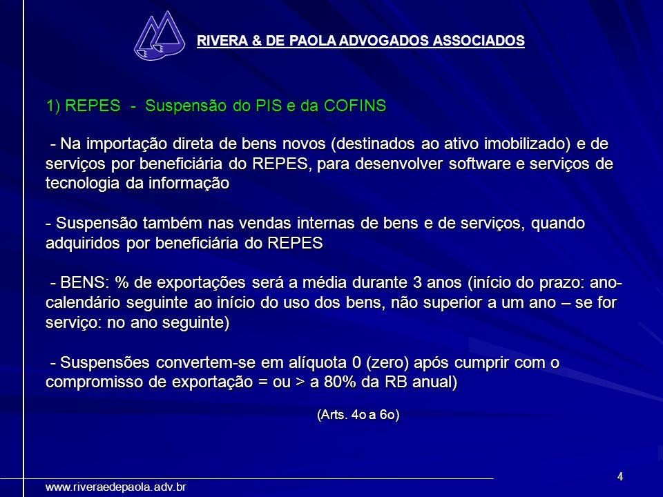 1) REPES - Suspensão do PIS e da COFINS