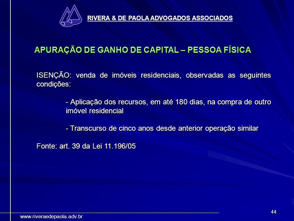 APURAÇÃO DE GANHO DE CAPITAL – PESSOA FÍSICA