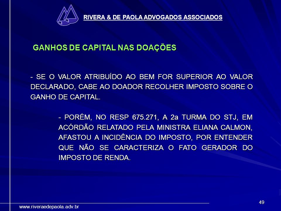 GANHOS DE CAPITAL NAS DOAÇÕES