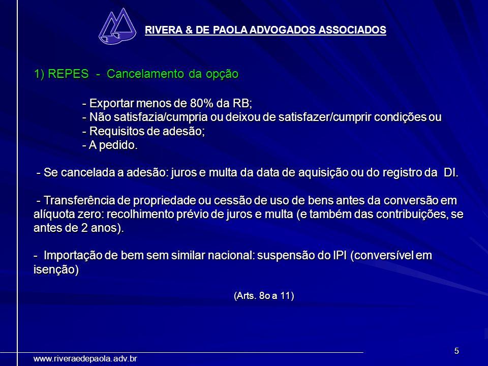 1) REPES - Cancelamento da opção - Exportar menos de 80% da RB;