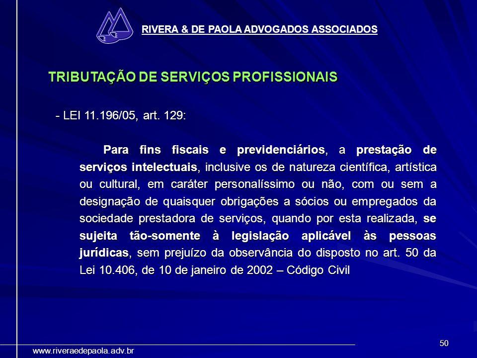 TRIBUTAÇÃO DE SERVIÇOS PROFISSIONAIS