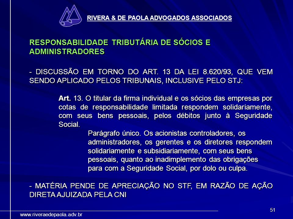 RESPONSABILIDADE TRIBUTÁRIA DE SÓCIOS E ADMINISTRADORES