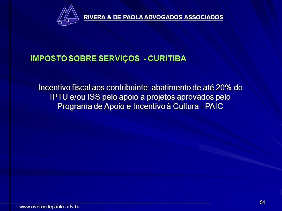IMPOSTO SOBRE SERVIÇOS - CURITIBA